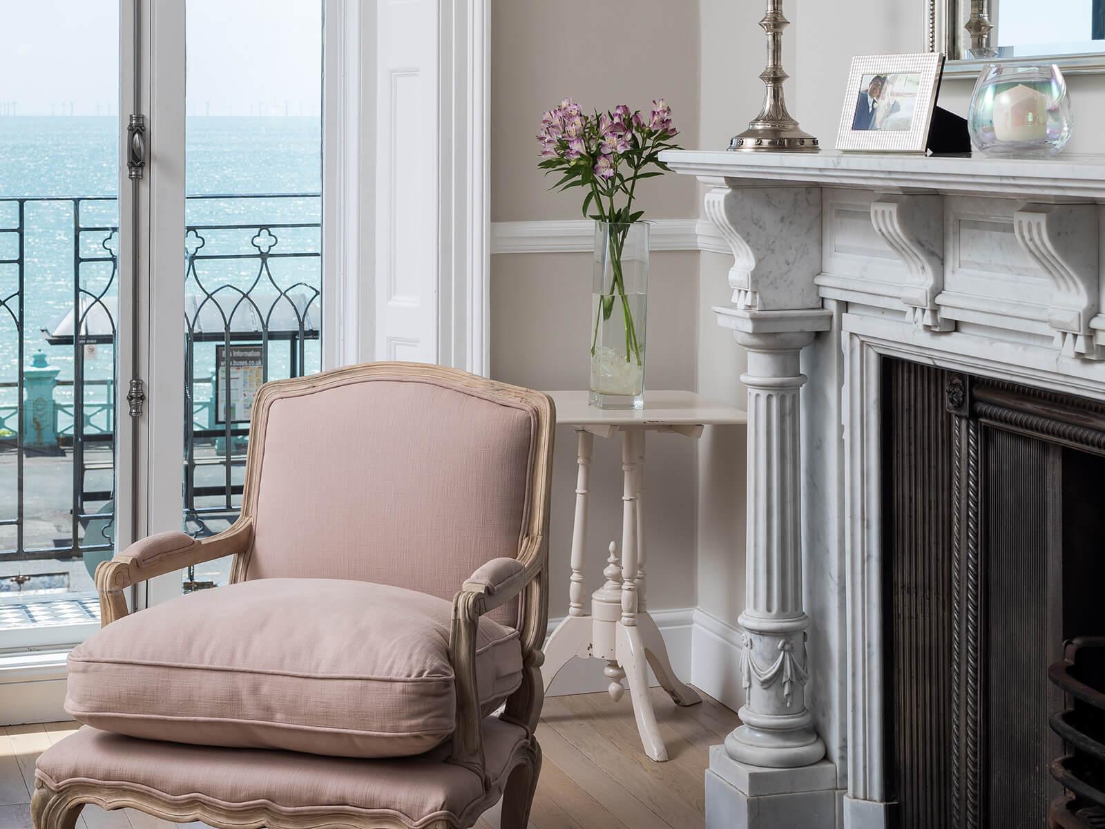 Pink armchair in living room